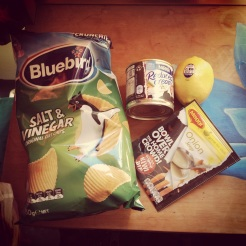 All the ingredients for The Original Kiwi Dip and a bag of salt & vinegar chips